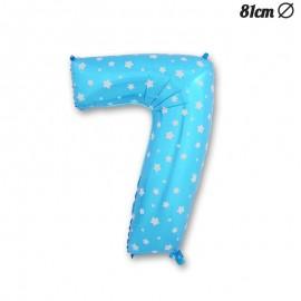 Globo Número 7 Foil Azul con Estrellas 81 cm