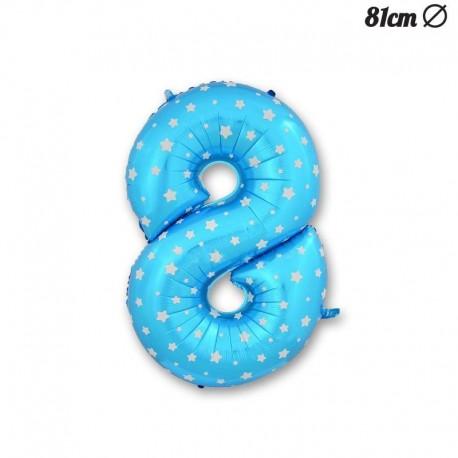 Globo Número 8 Foil Azul con Estrellas 81 cm
