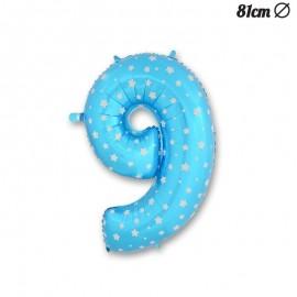 Globo Número 9 Foil Azul con Estrellas 81 cm
