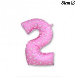 Globo Número 2 Foil Rosa con Corazones 81 cm