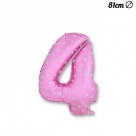 Globo Número 4 Foil Rosa con Corazones 81 cm