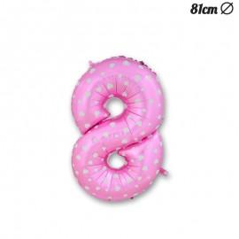 Globo Número 8 Foil Rosa con Corazones 81 cm