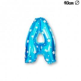 Globo Letra A Foil Azul con Estrellas 40 cm
