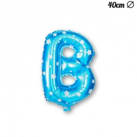 Globo Letra B Foil Azul con Estrellas 40 cm
