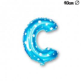 Globo Letra C Foil Azul con Estrellas 40 cm