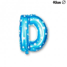Globo Letra D Foil Azul con Estrellas 40 cm