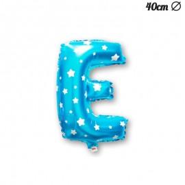 Globo Letra E Foil Azul con Estrellas 40 cm
