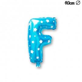 Globo Letra F Foil Azul con Estrellas 40 cm