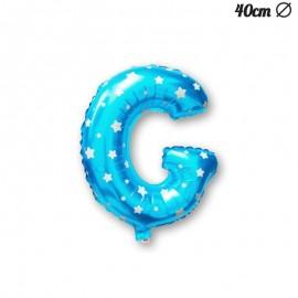 Globo Letra G Foil Azul con Estrellas 40 cm