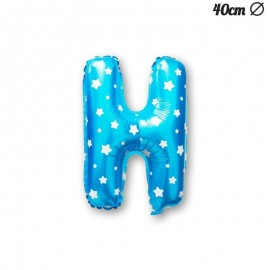 Globo Letra H Foil Azul con Estrellas 40 cm
