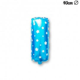 Globo Letra I Foil Azul con Estrellas 40 cm