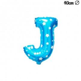 Globo Letra J Foil Azul con Estrellas 40 cm
