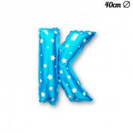 Globo Letra K Foil Azul con Estrellas 40 cm