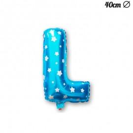 Globo Letra L Foil Azul con Estrellas 40 cm