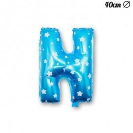 Globo Letra N Foil Azul con Estrellas 40 cm