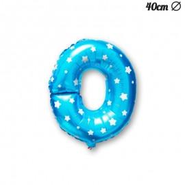 Globo Letra O Foil Azul con Estrellas 40 cm