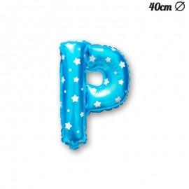 Globo Letra P Foil Azul con Estrellas 40 cm