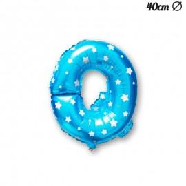 Globo Letra Q Foil Azul con Estrellas 40 cm