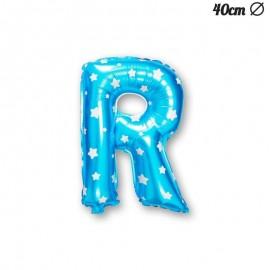 Globo Letra R Foil Azul con Estrellas 40 cm