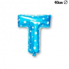Globo Letra T Foil Azul con Estrellas 40 cm