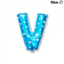 Globo Letra V Foil Azul con Estrellas 40 cm