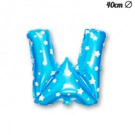 Globo Letra W Foil Azul con Estrellas 40 cm