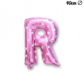 Globo Letra R Foil Rosa con Corazones 40 cm