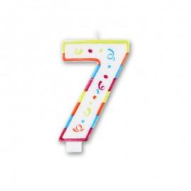 Vela con Colorines Grande Número 7