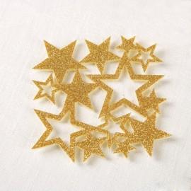 6 Posavasos Fieltro Purpurina Estrellas Dorado