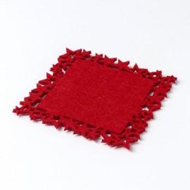 6 Posavasos Fieltro Rojo Estrellas 10x10 cm