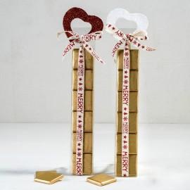 2 Estuches 6 Chocolates Corazón de Purpurina