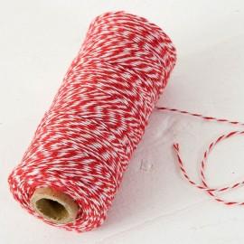 Cordón 4 Hilos x 200 mts Trenzado Algodón Rojo y Blanco