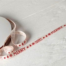 Cinta Algodón Marfil Print Rojo Merry Christmas 10mmx50mts