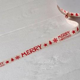 Cinta Algodón Marfil Print Rojo Merry Christmas 15mmx50mts