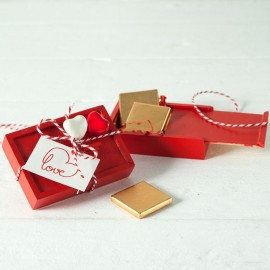 Caja Madera 4 Chocolates Sant Valentín Doble Corazón
