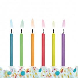 6 Velas para Cumpleaños con Llama de Colores