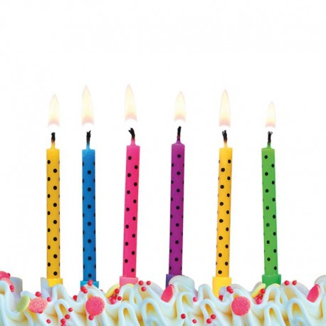 6 Velas para Cumpleaños con Puntitos