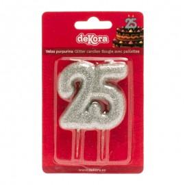 Vela 25 Aniversario Purpurina Plata