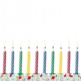 10 Velas para Cumpleaños con Rayas