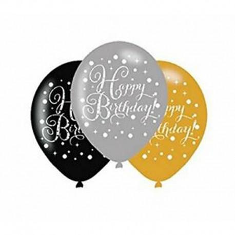 6 Globos Happy Birthday Elegant Dorado de Látex 28 cm