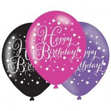 6 Globos Happy Birthday Elegant Rosa de Látex 28 cm
