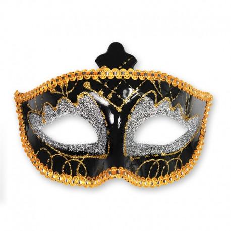 Máscara Negra y Dorada para Fiestas