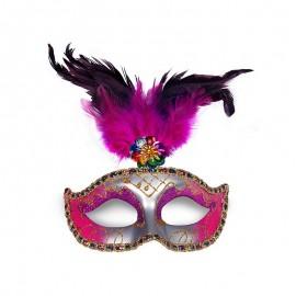 Máscara Rosa y Plata con Pluma para Fiestas