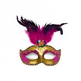 Máscara Dorada y Rosa con Pluma para Fiestas