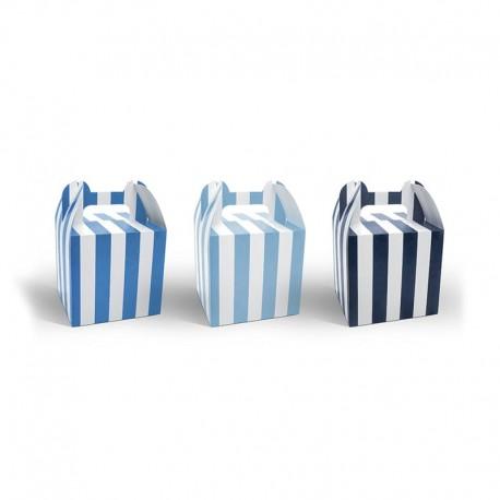 6 Cajas para Dulces con Asas con Rayas Azules 12,5 cm