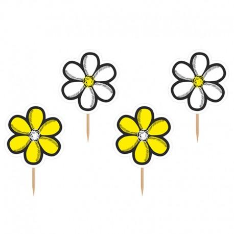 6 Palillos con Flores Amarillas y Blancas
