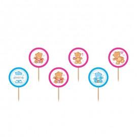 6 Palillos con Osos Rosas y Azules