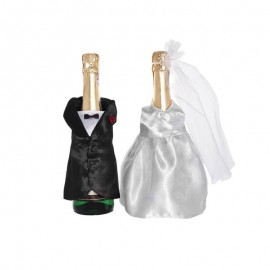 2 Fundas para Botella Champagne forma Novios