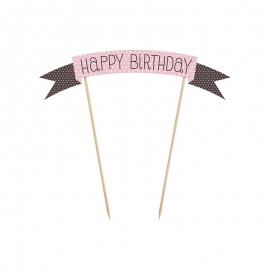 Mini Pancarta para Tarta con Happy Birthday 19 cm