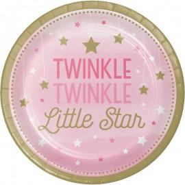 8 Platos Twinkle Primer Año Niña estrellitas 18 cm